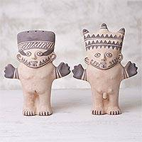 Ceramic sculptures, 'Chancay Nobility' (pair)