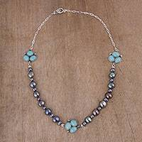 Cultured pearl and amazonite beaded pendant necklace,