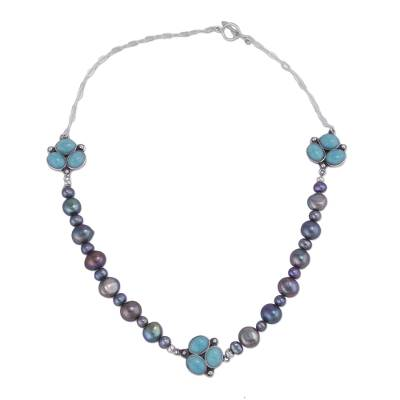 Cultured pearl and amazonite beaded pendant necklace, 'Peaceful Pebbles' - Cultured Pearl and Amazonite Beaded Necklace from Peru