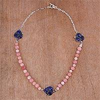 Opal and sodalite beaded pendant necklace, 'Peaceful Pebbles' - Opal and Sodalite Beaded Pendant Necklace from Peru