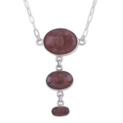 Rhodochrosite Y-necklace, 'Levitating' - Modern Sterling Silver Necklace with Andean Rhodochrosite