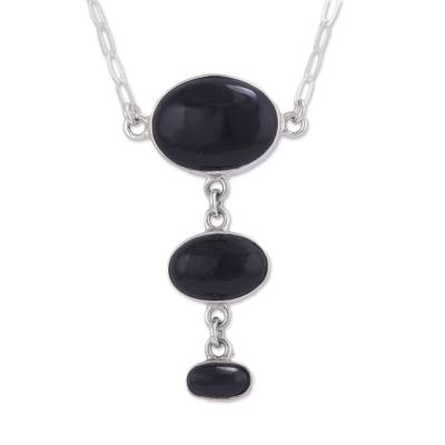 Sterling Silver Necklace with Andean Black Obsidian