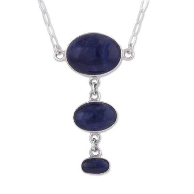 Sodalite Y-necklace, 'Levitating' - Fair Trade Andean Sodalite Modern Sterling Silver Necklace