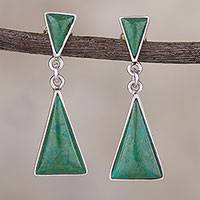 Chrysocolla dangle earrings, 'Peaks and Pyramids' - Natural Andean Chrysocolla Earrings in Sterling Silver