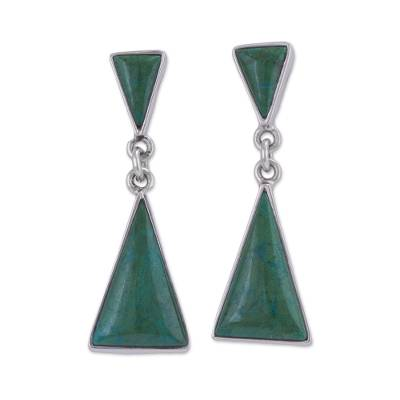 Natural Andean Chrysocolla Earrings in Sterling Silver