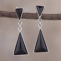 Obsidian dangle earrings, 'Peaks and Pyramids' - Andean Obsidian Contemporary Earrings in 925 Sterling Silver