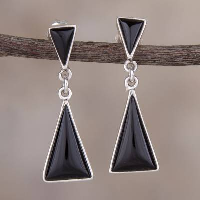 1f7a51309 Obsidian dangle earrings, 'Peaks and Pyramids' - Andean Obsidian  Contemporary Earrings in 925
