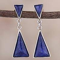 Sodalite dangle earrings, 'Peaks and Pyramids' - Natural Andean Sodalite and Sterling Silver Earrings