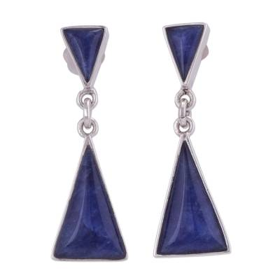 Natural Andean Sodalite and Sterling Silver Earrings