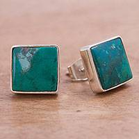 Chrysocolla stud earrings, 'Evocative Color' - Chrysocolla and Silver Stud Earrings Handcrafted in Peru