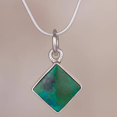 Chrysocolla pendant necklace, 'Evocative Color' - Chrysocolla and Silver Necklace Handcrafted in Peru