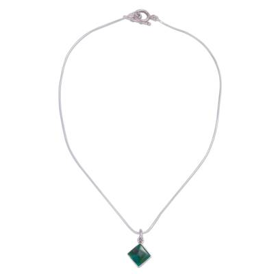 Chrysocolla and Silver Necklace Handcrafted in Peru