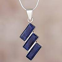 Sodalite pendant necklace, 'Distinguished Diagonals' - Artisan Crafted Modern Sodalite Necklace in Andean Silver