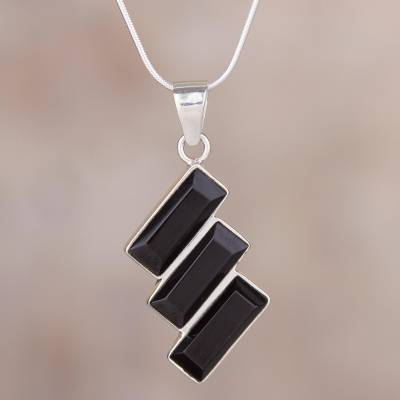 Black obsidian necklace handcrafted of andean 925 silver obsidian pendant necklace distinguished diagonals black obsidian necklace handcrafted of andean 925 aloadofball Choice Image
