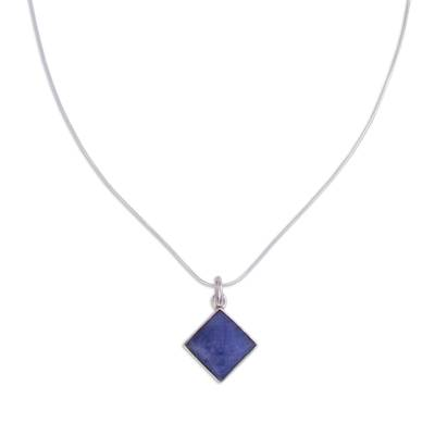 Sodalite pendant necklace, 'Evocative Color' - Sodalite and Silver Pendant Necklace Handcrafted in Peru