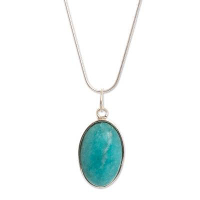 Amazonite pendant necklace, 'Captivating Color' - Andean Amazonite Necklace Handcrafted of Sterling Silver