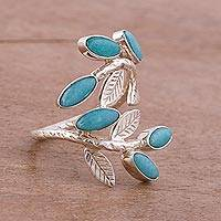 Amazonite cocktail ring, 'Blue Dew' - Fair Trade Andean Sterling Silver and Amazonite Ring