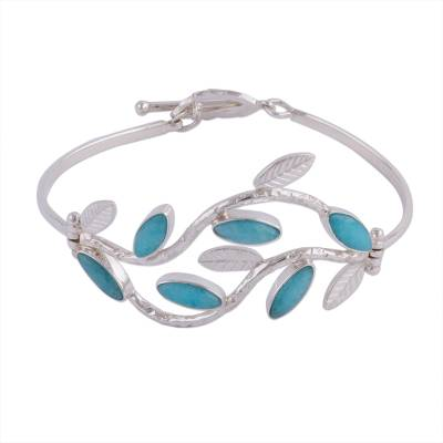 Amazonite pendant bracelet, 'Blue Dew' - Andean Sterling Silver Handcrafted Amazonite Bracelet