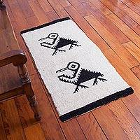Wool area rug, 'Pelican Paradise' (2x4) - Hand Knotted Wool Area Rug with Pelican Motif (2x4)