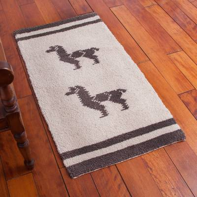 Wool area rug, 'Llama Love' (2x4) - Hand Knotted Wool Area Rug with Llama Motif (2x4)