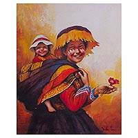 'Happiness in the Andes' - Original Oil Painting of a Young Andean Mother and Daughter