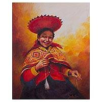 'Woman Spinning Wool' - Original Signed Painting of an Andean Woman Spinning Wool