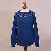 100% baby alpaca sweater, 'Indigo Luxury' - Knit Blue Baby Alpaca Pullover Sweater from Peru