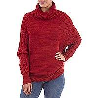 100% baby alpaca sweater, 'Holiday Warmth in Red' - Knit Red Baby Alpaca Turtleneck Sweater from Peru