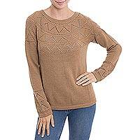 100% baby alpaca sweater, 'Peruvian Evening in Camel' - Knit Camel Baby Alpaca Pullover Sweater from Peru