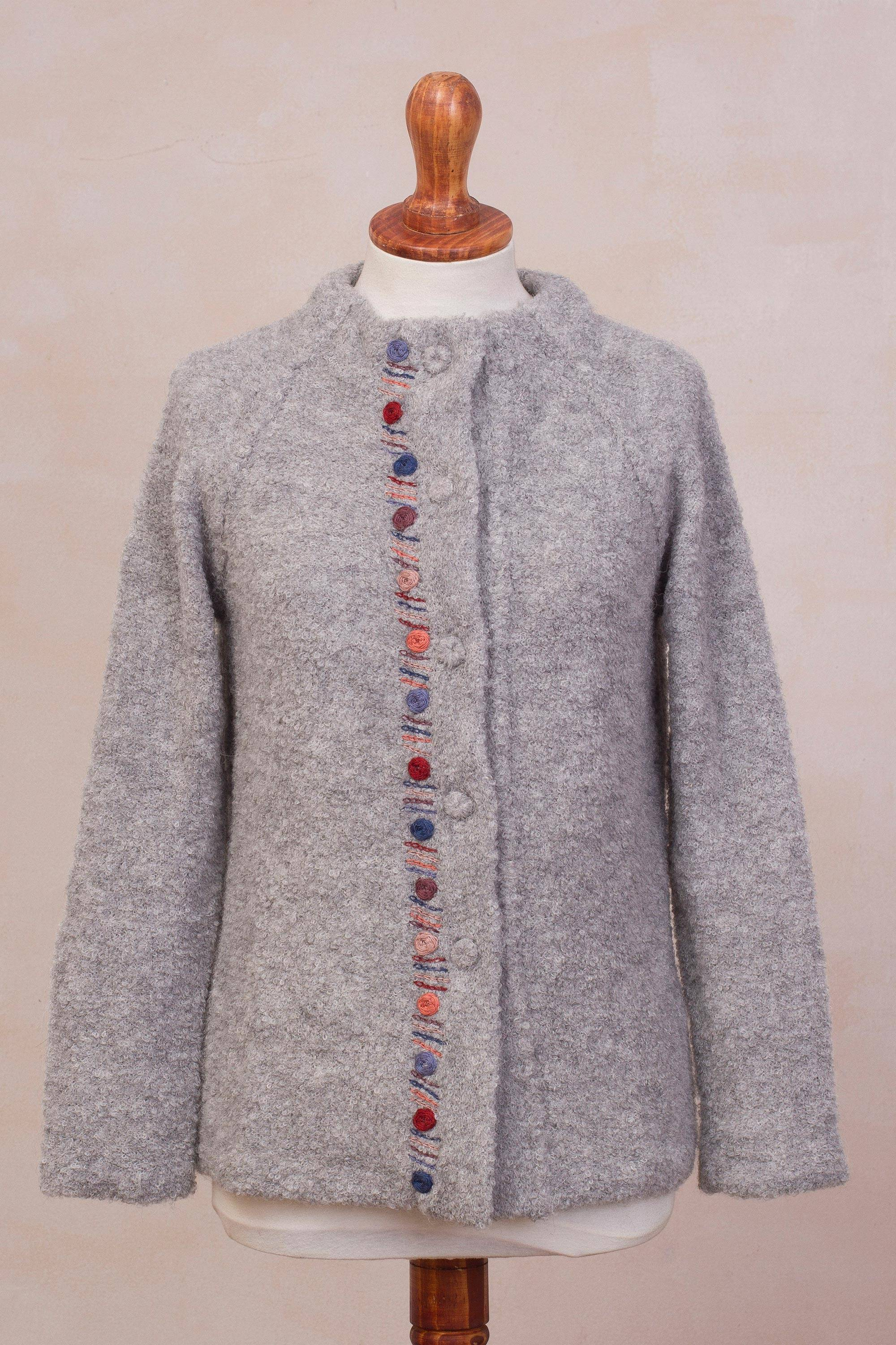 d539fa1dd Grey Alpaca Blend Sweater Jacket from Peru - Morning Muse in Grey ...