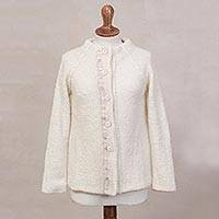 Alpaca blend sweater jacket, 'Morning Muse in Off White' - Off White Alpaca Blend Sweater Jacket from Peru