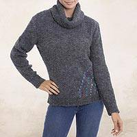 Alpaca blend turtleneck sweater, 'Weekend Adventure in Graphite' - Grey Alpaca Blend Turtleneck Sweater from Peru