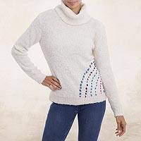 Alpaca blend turtleneck sweater, 'Weekend Adventure in Eggshell' - White Alpaca Blend Turtleneck Sweater from Peru