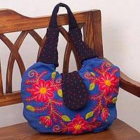 Wool shoulder bag, 'Flowering Sky' - Blue Loom Woven Wool Shoulder Bag with Embroidered Flowers