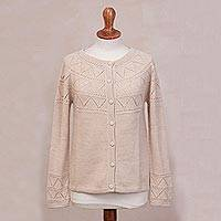 100% baby alpaca cardigan sweater, 'Sweet Mystique in Ivory' - Ivory Baby Alpaca Cardigan Sweater with Pointelle Designs