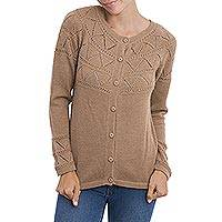 100% baby alpaca cardigan sweater, 'Sweet Mystique in Tan' - Tan Baby Alpaca Cardigan Sweater with Pointelle Knit Designs