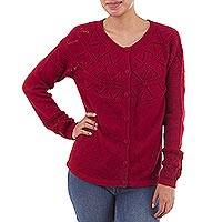 100% baby alpaca sweater, 'Sweet Mystique in Crimson' - Crimson Baby Alpaca Cardigan Sweater with Pointelle Knit