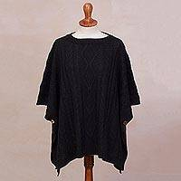 Alpaca blend poncho, 'Colonial Charm in Black'