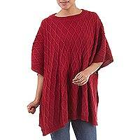Alpaca blend poncho, 'Andean Romance in Red' - Alpaca Blend Poncho with Rhombus Design in Crimson from Peru