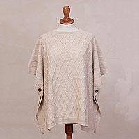 Alpaca blend poncho, 'Andean Romance in Alabaster' - Alabaster Alpaca Blend Poncho with Rhombus Design from Peru