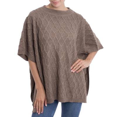 Alpaca blend poncho, 'Andean Romance in Taupe' - Peruvian Taupe Alpaca Blend Poncho with Rhombus Design