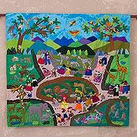 Cotton blend arpillera wall hanging, 'Zoo Outing' - Cotton Blend Hand Made Arpillera Wall Hanging of Zoo Outing