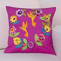 Applique cotton cushion cover, 'Hummingbird Cheer' - Fuchsia Cushion Cover with Hummingbird and Floral Appliques