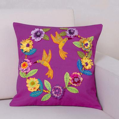 Handmade Folk Flowers on White 100/% Cotton Cushion Cover.Various sizes