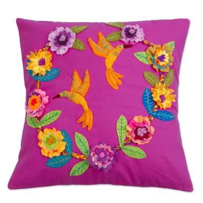 Fuchsia Cushion Cover with Hummingbird and Floral Appliques