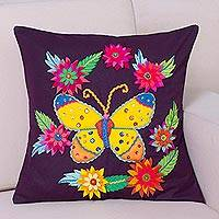 Applique cushion cover, 'Butterfly Dance' - Purple Cushion Cover with Butterfly and Floral Appliques