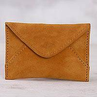Suede coin purse, 'Country Stroll' - Orange Suede Coin Purse from Peru