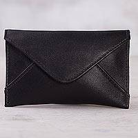 Leather coin purse, 'City Stroll' - Black Leather Coin Purse from Peru