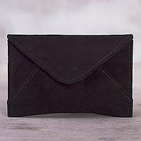 Suede coin purse, 'Deepest Night' - Black Suede Coin Purse from Peru