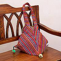 Handwoven shoulder bag, 'Colorful Carnival' - Handwoven Colorful Striped Shoulder Bag from Peru